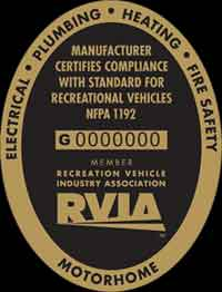 This RVIA certificate certifies compliance with codes NFPA 1192