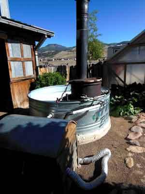 Man cave wood fired hot tub
